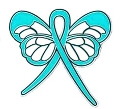 Teal Ribbon Butterfly Lapel Pin Cancer Cause Awareness Ovarian Thyroid P... - $13.97