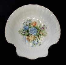 Vintage Prestige Shell Soap Dish Roses Flowers Gold Trim Japan Collectible Used - $19.37
