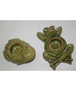 Party Lite Candle Tea Light Beach Frogs Set of 2 Ceramic Frogs - $16.95