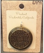 New Large Metal Round Circular Necklace Locket Pendant Charm - $6.99