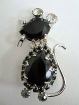 Vintage Juliana Style Black Rhinestone Mouse Figural Pin Brooch - $34.95
