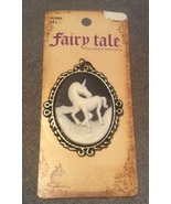Fairy Tale Fantasy Unicorn on Black Cameo Neckl... - $7.99