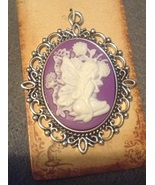 Fairy Tale Fantasy Plum Fairy Purple Cameo Necklace Pendant Jewelry - $7.99