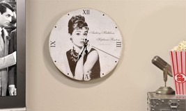 "13"" Audrey Hepburn Design Wall Clock Black & White  Replica Autograph"