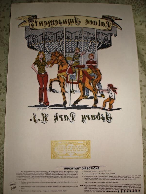 ORIGINAL ASBURY PARK NJ PALACE AMUSEMENTS MERRY-GO-ROUND TEE SHIRT IRON-ON 1978