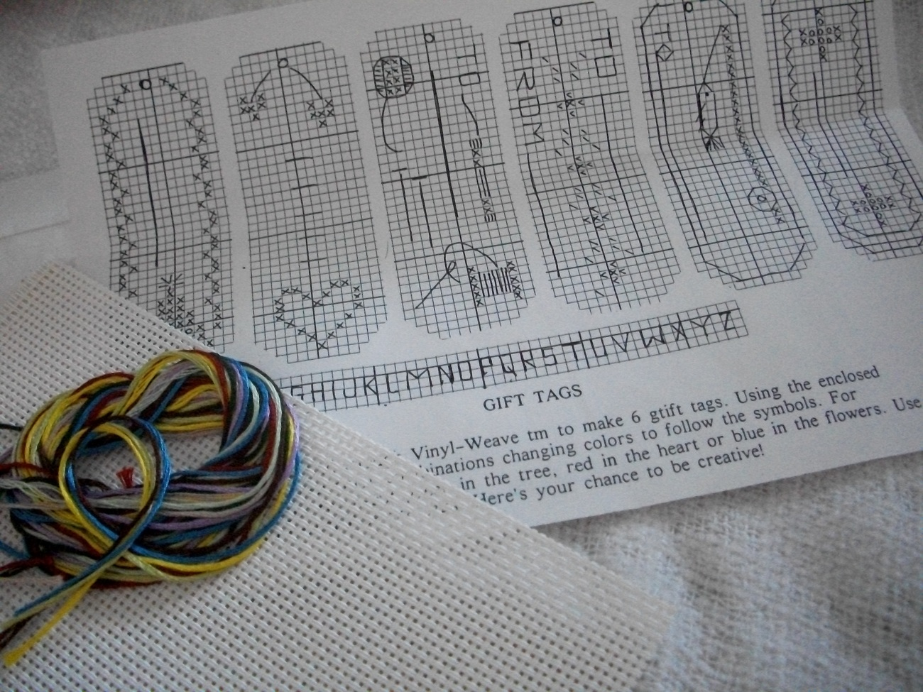 Vinyl Weave Cross Stitch Gift Tags Kit