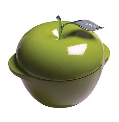 Green Apple Cast Iron Dutch Oven Pot Lid Enamel 3 Quart Cookware Valentine Lodge
