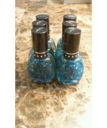 Lot of 6 New Jumbo Blue Glitter Finger Nail Polish Set Nabi - $5.99