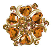 P ugster Heart Yellow Stone Crystal Rhinestone Open Floral Flower Leaf P... - $30.99