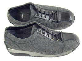 Stuart Weitzman Grey Canvas and Black Leather Slip On Flats 6 M US Near ... - $18.36