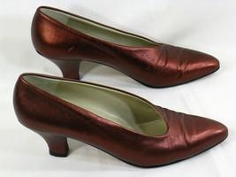 Carolini Moda Metallic Burgundy Leather Classic Pumps Size 8.5 AA US Exc... - $14.73