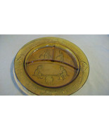 BROWN AMBER DIVIDED CHILDS GLASS PLATE, SEE SAW MARGERY DAW, MY PRETTY MAID - $22.28