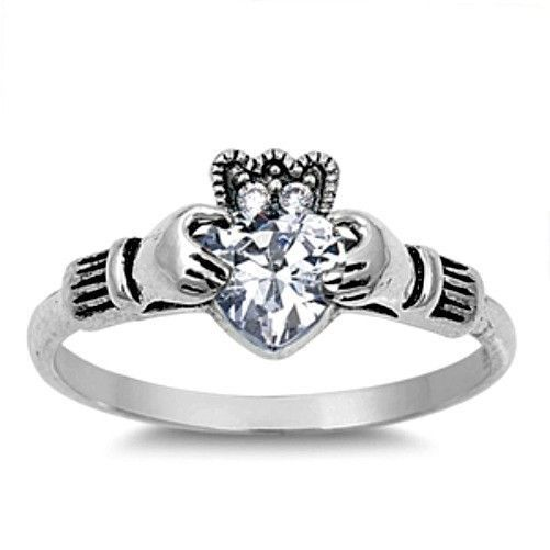 USA Seller Claddagh Ring Sterling Silver 925 Best Jewelry Ruby CZ Size 7