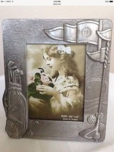 Photo Frame Metal Silver Tone Design For Golf Players. 3.5 in x 5 in. - $8.50