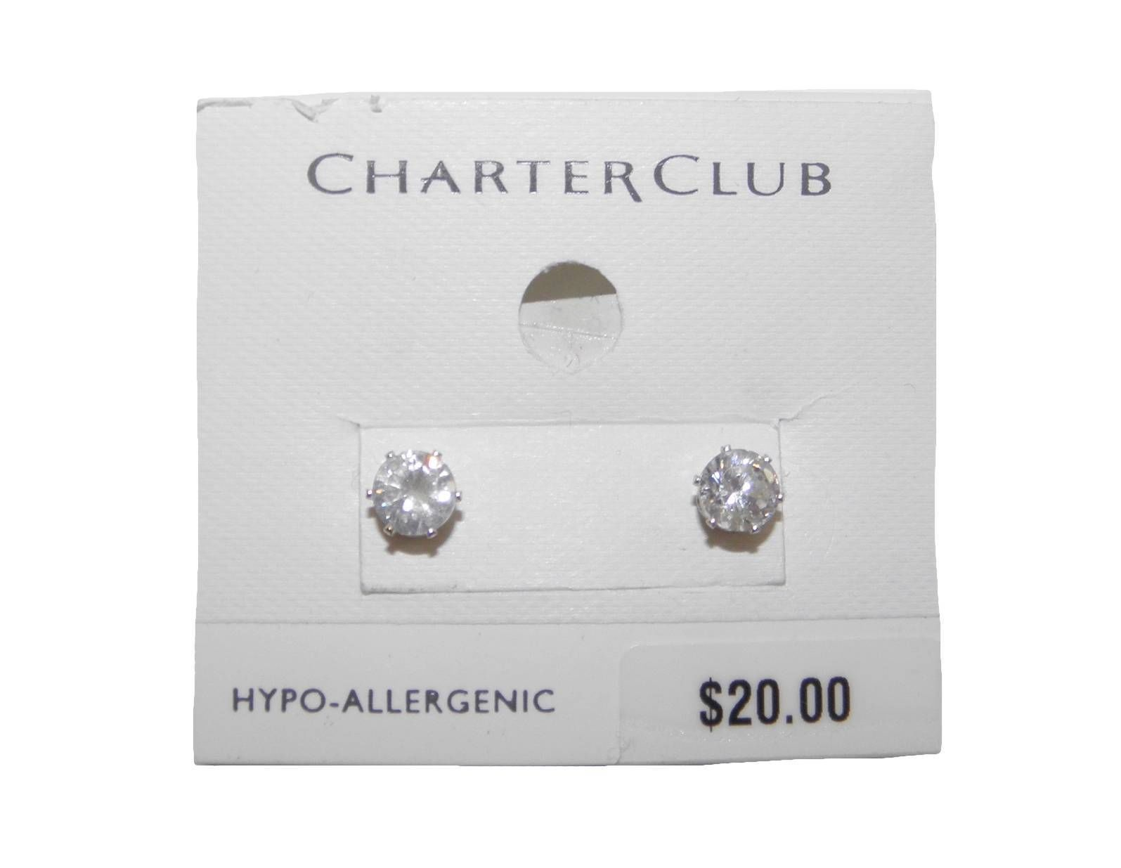 NEW WOMENS CHARTER CLUB CRYSTAL STUD EARRINGS
