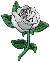 White rose flower love biker tattoo embroidered applique iron-on patch S... - £2.17 GBP