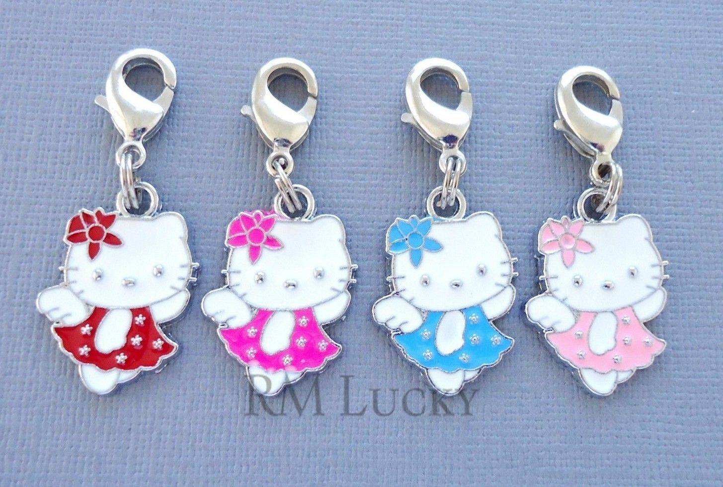 Dangle Pendant Hello Kitty Clip On Charm with Lobster Clasp Fits Link Chain C198 - $3.59