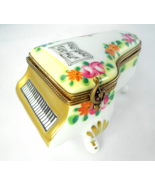 Limoges Box - Yellow & Gold Floral Baby Grand Piano & Music Book - Peint... - $139.00