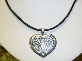 Celtic Heart  Pewter  Pendant Necklace   Irish Girls St Patricks Day  je... - $8.99