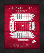"Utah Utes Rice-Eccles ""Retro"" Stadium Seating Chart 13x16 Framed Print  - $39.95"
