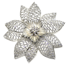 "Vintage EMMONS Flower Brooch Large Silver Pin 3.5"" Signed  - $5.00"