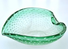 Erickson Controlled Bubble Bowl Heart Shape Candy Dish Mid Century Glass - $15.63