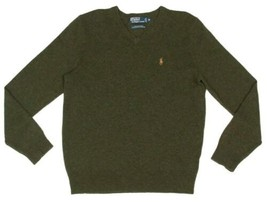 Polo Ralph Lauren V Neck Sweater 100% Lambs Wool Mens Sz L - Green - Pon... - $24.74