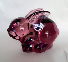 Silvestri Amethyst Glass Bunny Rabbit Sitting Figurine Animal Paperweight image 3