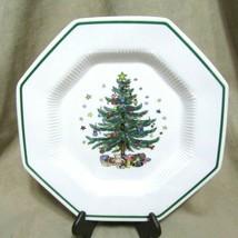 "Nikko Christmastime Dinner Plates Octagon Shape 10.75"" Xmas Tree in Center - $39.63"