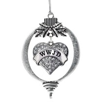 Inspired Silver WWJD Pave Heart Holiday Christmas Tree Ornament With Crystal Rhi - $14.69