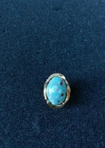 VINTAGE SOUTHWEST STYLE GOLD TONE TURQUOISE ENAMEL ADJUSTABLE RING - $24.75