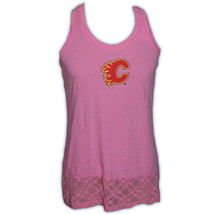 Calgary Flames CCM NHL Hockey Team Logo Women's Lace Hem Tank Top  A  Shirt - $13.99