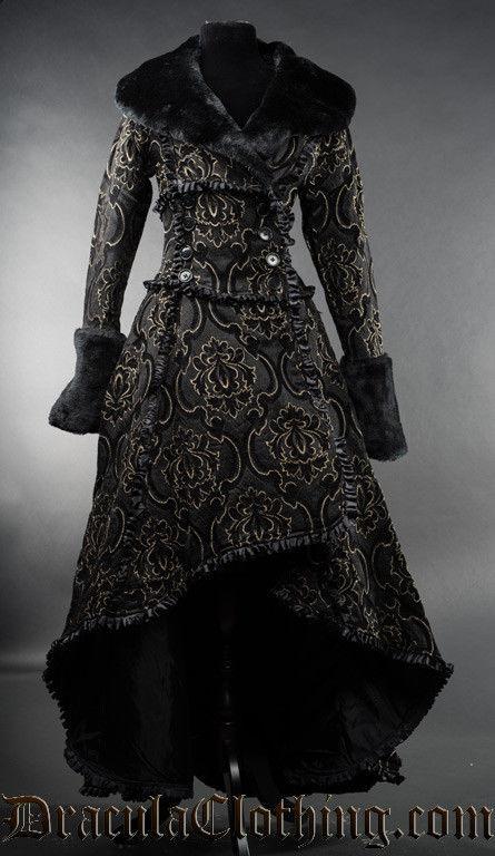 Charcoal Grey Evil Queen Brocade Goth Victorian Long Corset-Back Steampunk Coat