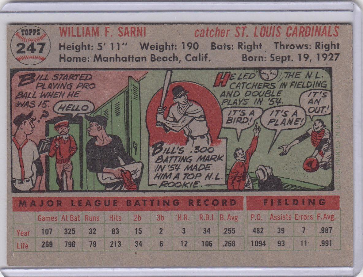 1956 Topps 247 Bill Sarni Not Graded 02