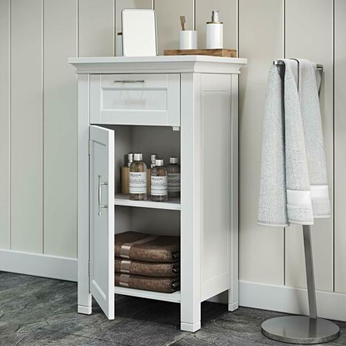 White Narrow Wooden Floor Cabinet Bathroom Shelf 3 Tier ...