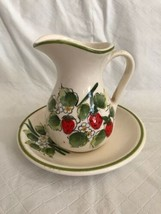 Vintage Small Pitcher & Saucer Sauce Creamer or Gravy Server Plate Strawberries - $19.99