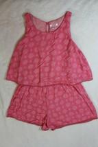 Xhilaration Girls Romper Shorts Size L 10 12 Pink Crochet Lace Trims Spr... - $21.77
