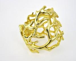 Kenneth J Lane KJL Gold Tone Coral Branch Hinge Wide Cuff Bracelet Made ... - $84.15