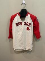 Boston Red Sox MLB Baseball Tee MAJESTIC Red Cream 3/4 Sleeve Ladies 14-16 L - $20.00