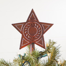 Country new small distressed rusty punched tin STAR tree topper/NICE - $12.47