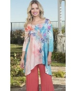 Cover Charge Aqua/Coral Peacock Paradise Peek-a-boo Beaded Tunic - NOW 1... - $34.90