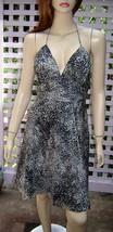 EXPRESS Light/Dark Gray Leopard Print Empire Waist Lined Silk Halter Dress (4) - $14.60