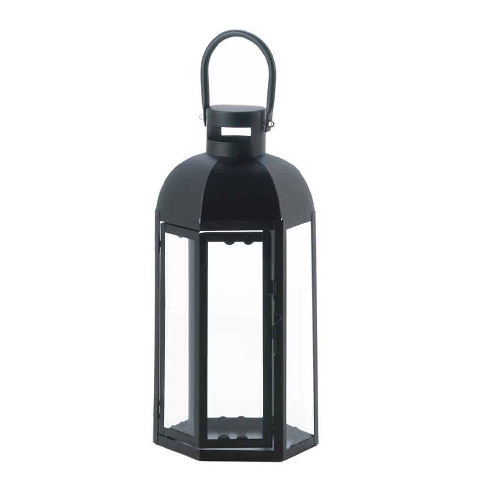 Black Lantern Candle Holder, Small Rustic Outdoor Metal Lanterns For Candles image 3