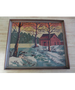 "VINTAGE Wood Framed COUNTRY WINTER SCENE WITH BARN Needlepoint  - 14.5"" x 17"" - $17.95"