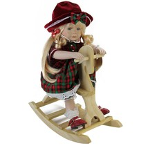 "Northlight 17.5"" Porcelain ""Jamie"" on Wood Rocking Horse Christmas Doll - $32.66"