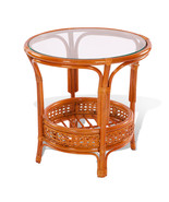 Round Rattan Wicker Coffee Table Pelangi in 3 Colors w/Glass Top - $111.99