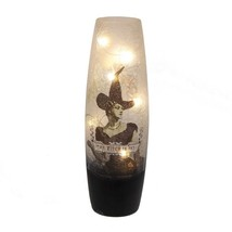 Vintage Styled Lighted LED The Witch Is In Crackle Vase Halloween Decor - $24.95