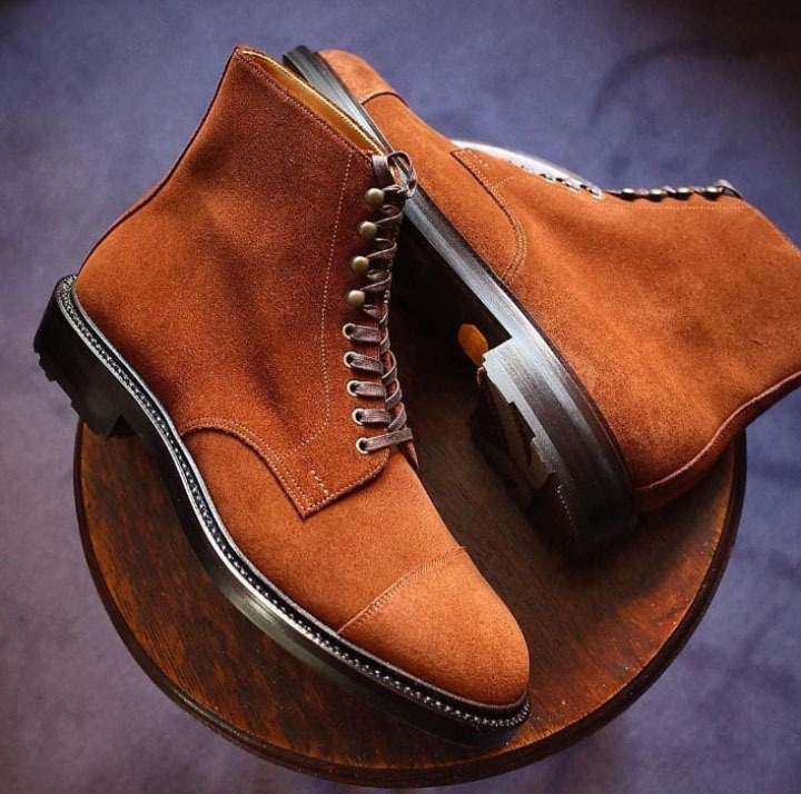 Suede Leather Brown Color Men Handcrafted High Ankle Black Sole Lace Up Boots image 2