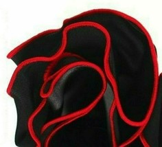 BLACK Silk RED border Trim Pocket square Round Handkerchief edge NEW $45 - $11.95