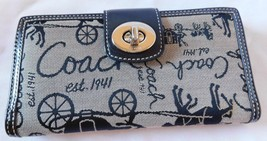 Coach Horse Carriage Full Size Check Book Wallet Brand New No Tag - $94.04